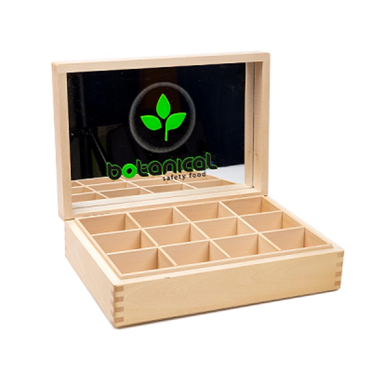 Дървена кутия за 12 вида чай Ботаникъл