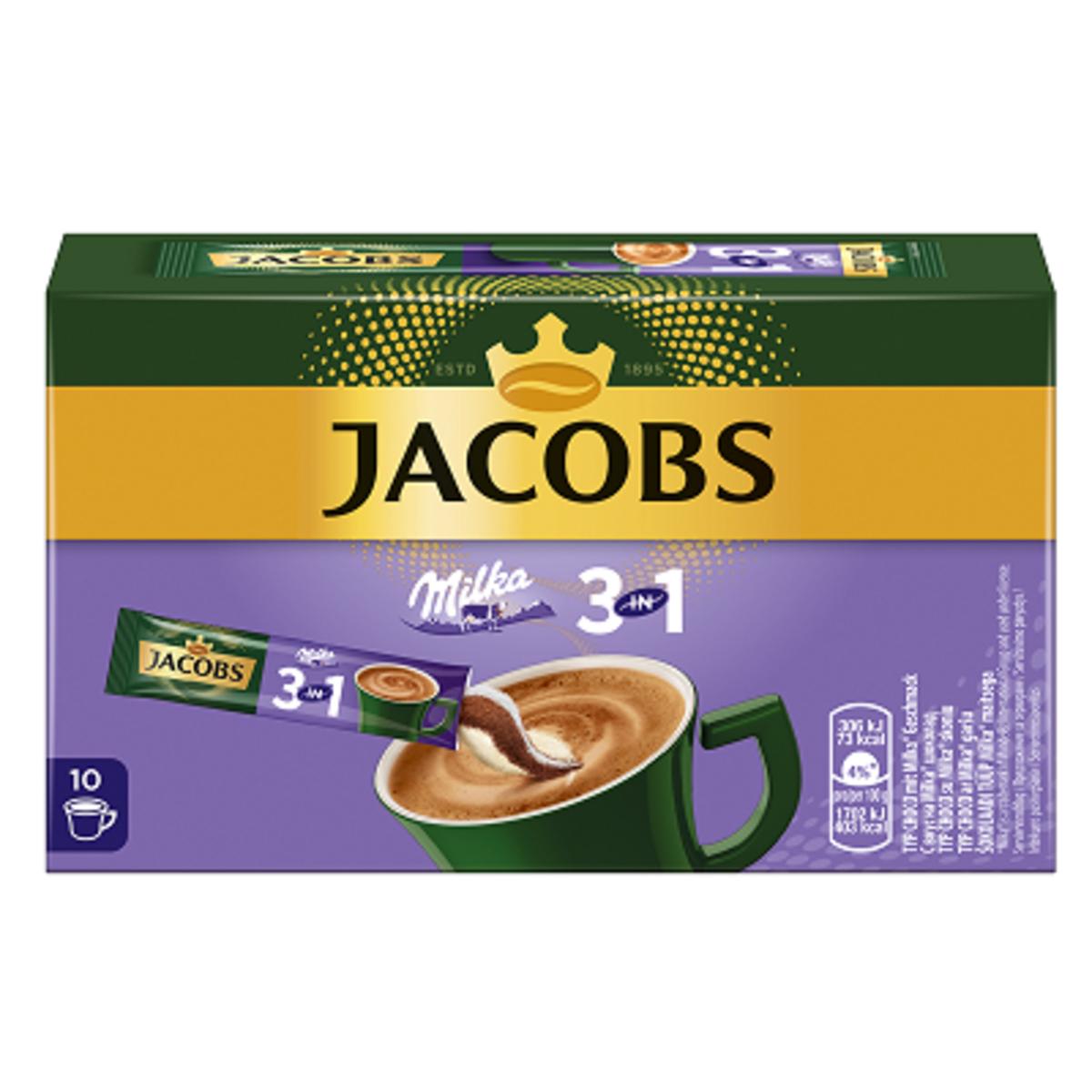 Jacobs Milka 3в1 кафе микс 10 броя в кутия Разтворима кафе напитка