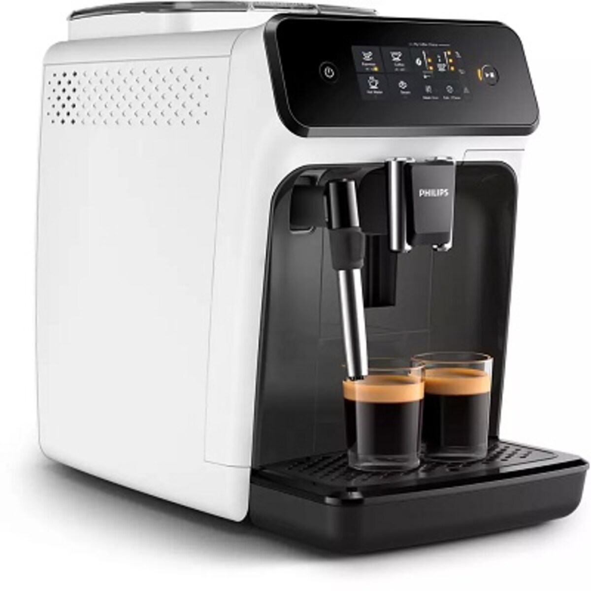 PHILIPS Автоматична еспресо машина 1200 series 2 напитки Сензорен дисплей приставка за разпенване на мляко цвят Бял