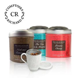 Комплект 3бр насипен чай и подарък чаша с цедка Comptoirs Richard