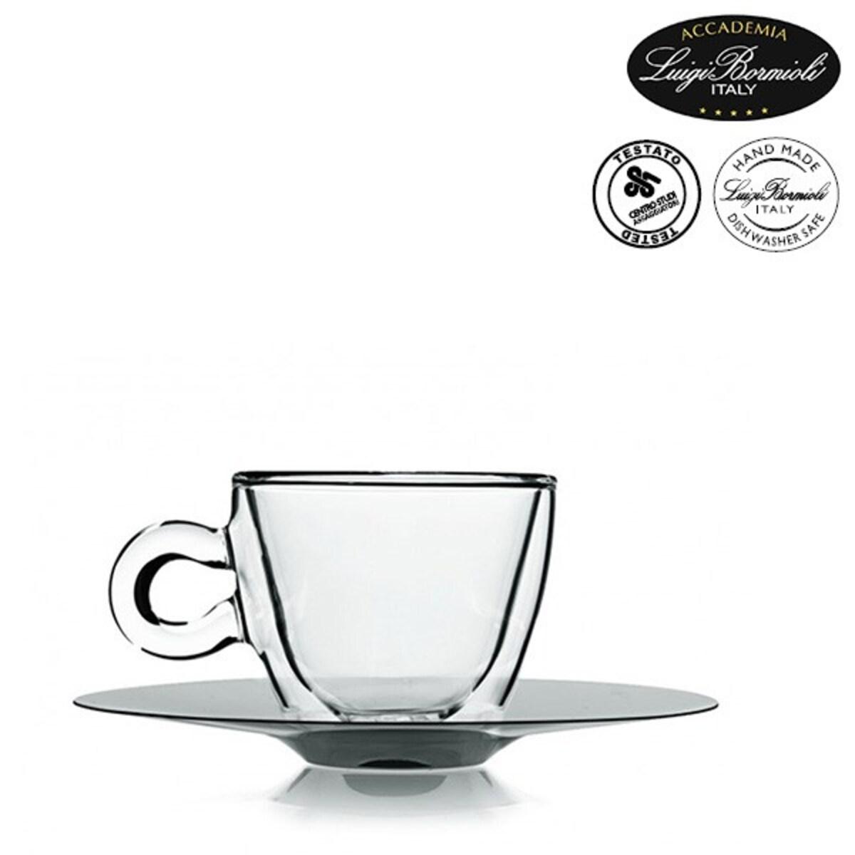 Luigi Bormioli 2 еспресо двустенни чаши с чинийки от инокс