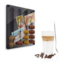Стенен мини диспенсер прав за Nespresso капсули - черен