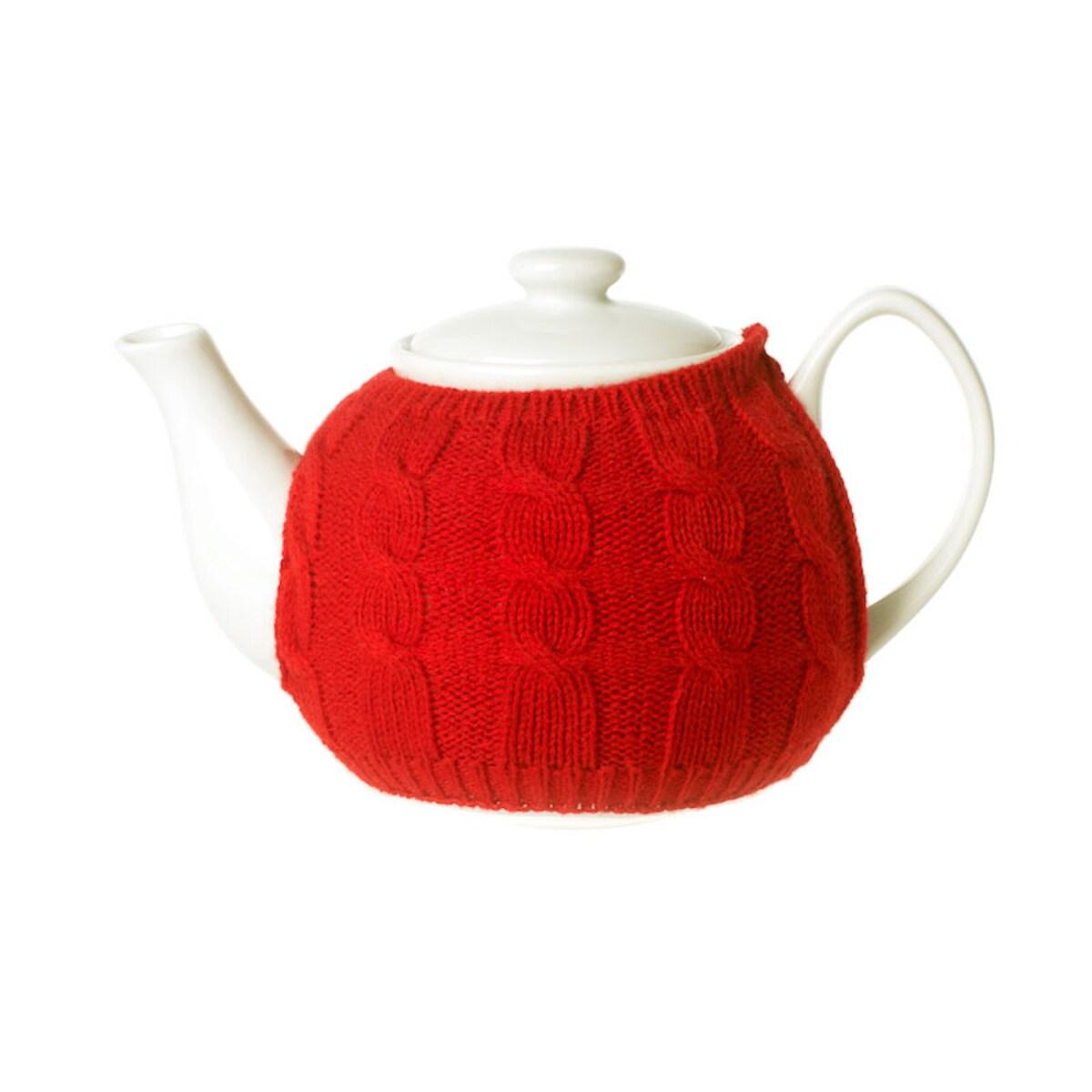 Порцеланов чайник с червен пуловер 1.1л