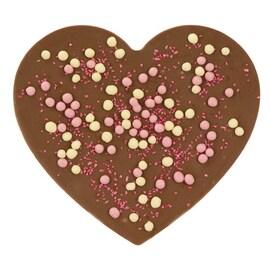Шоколадово сърце с бели и ягодови топченца Dreimeister