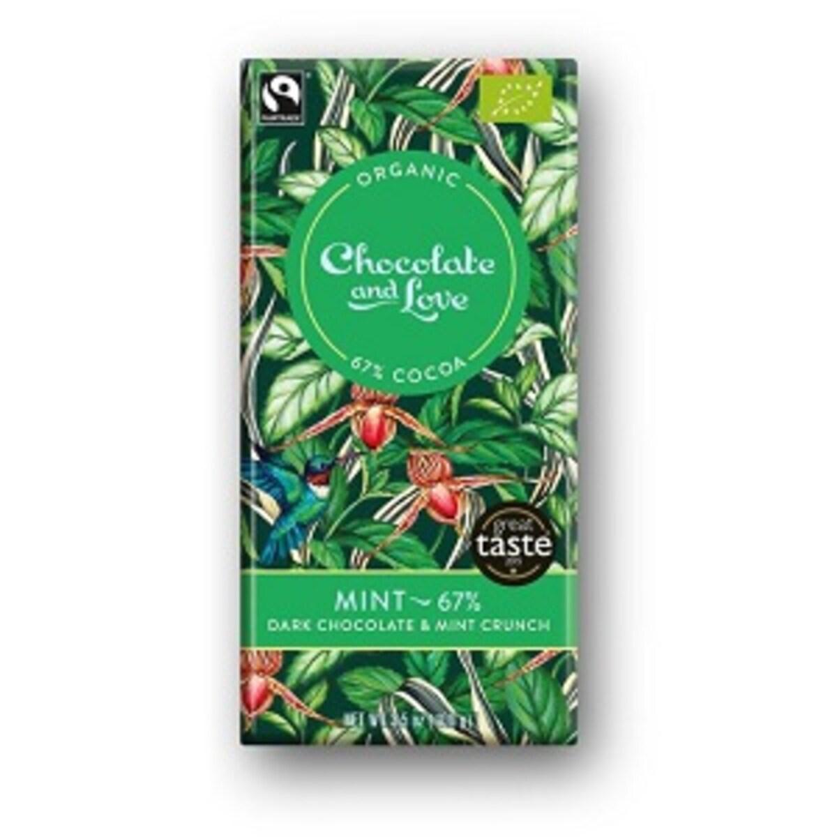 Органичен шоколад с мента, 67% какао, 40гр от Chocolate and Love