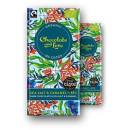 Морска сол и карамел органичен шоколад, 55% какао, 80гр от Chocolate and Love